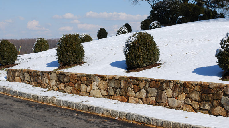 Snow On Natural Stone Walls